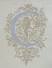 C - Monogramme Ornemental - Schema Punto Croce Iniziale C - Rouge du Rhin