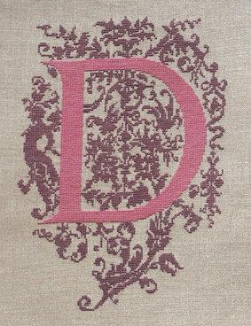 D - Monogramme Ornemental - Schema Punto Croce Iniziale D - Rouge du Rhin