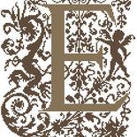 E - Monogramme Ornemental - Schema Punto Croce Iniziale E - Rouge du Rhin