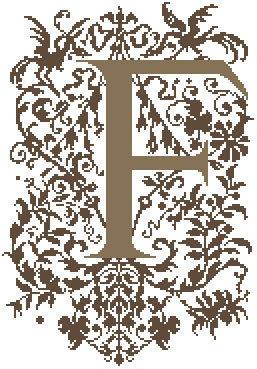 F - Monogramme Ornemental - Schema Punto Croce Iniziale F - Rouge du Rhin