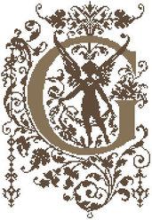 G - Monogramme Ornemental - Schema Punto Croce Iniziale G - Rouge du Rhin