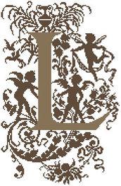 L - Monogramme Ornemental - Schema Punto Croce Iniziale L - Rouge du Rhin