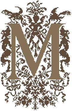 M - Monogramme Ornemental - Schema Punto Croce Iniziale M - Rouge du Rhin
