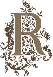 P - Monogramme Ornemental - Schema Punto Croce Iniziale P - Rouge du Rhin