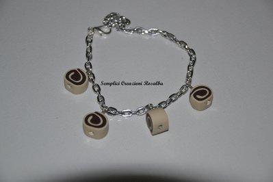 Bracciale in Fimo girelle cioccolato -fatto a mano