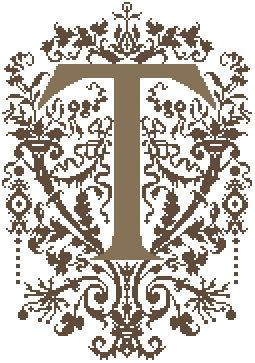 T - Monogramme Ornemental - Schema Punto Croce Iniziale T - Rouge du Rhin