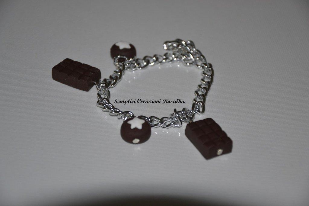 Bracciale in Fimo mooncake e cioccolato -fatto a mano