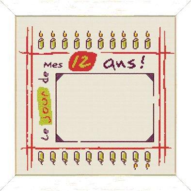 Mes 12 Ans! - Schema Punto Croce Cornice Fotografia Compleanno - Lilipoints