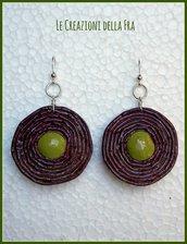 """Orecchini """"spirale di carta"""" ciliegia e verde"""