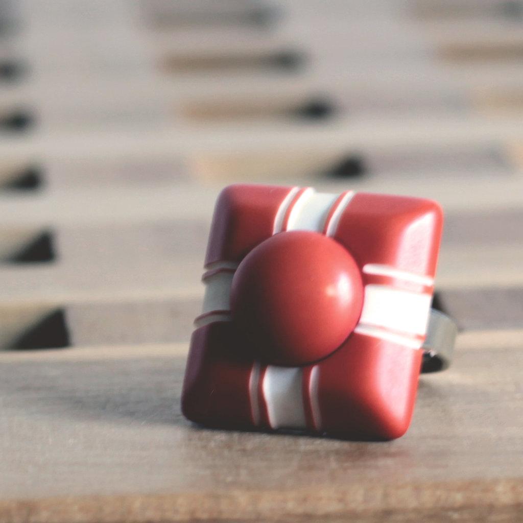 A2.15 - anello con bottone vintage decorato, regolabile