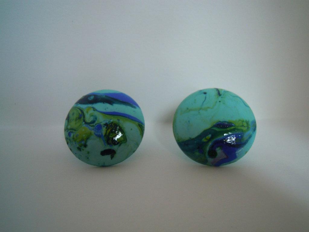 Orecchini clip turchese/blu