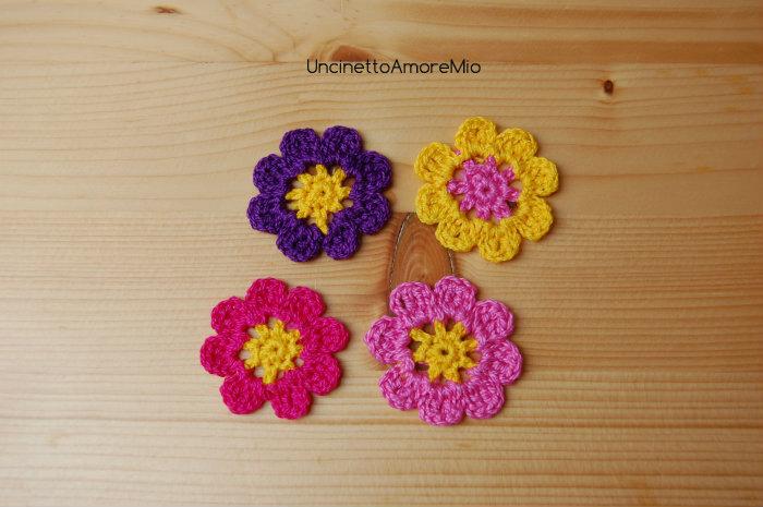4 fiori ad uncinetto in giallo viola fucsia e rosa - Decorazioni primavera ...