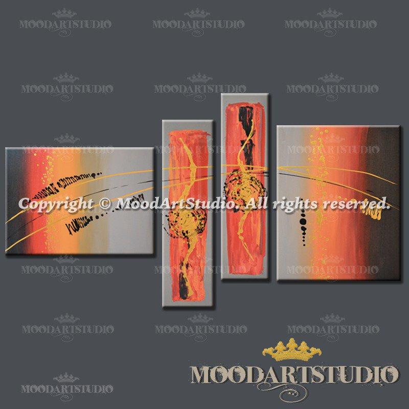 Pittura astratta in stile moderno con colori caldi arancione e toni di rosso