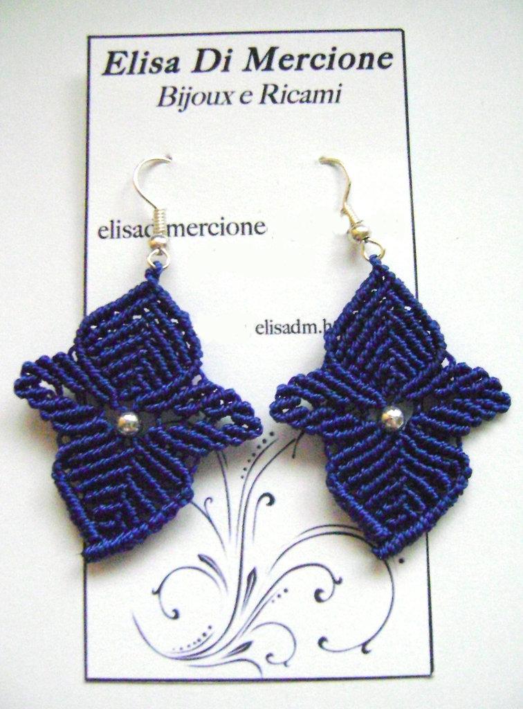 """Orecchini """"Foglia"""" in Micromacramè"""