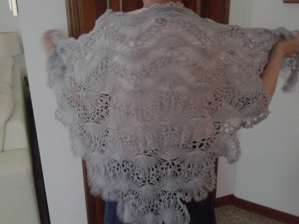 Scialle donna lana fatto a mano forcella