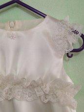 6 mesi abito cerimonia bianco in raso e pizzo