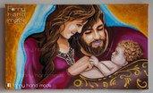Dipinto su tela sacra famiglia - capoletto