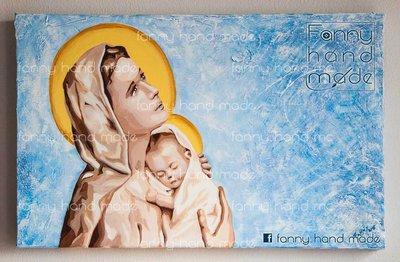 Dipinto acrilico su tela - madonna con bambino