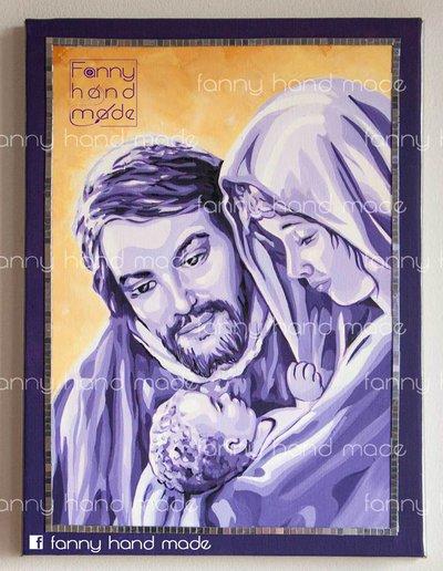 Dipinto acrilico su tela - Sacra famiglia -  viola