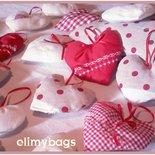 Cuori di stoffa da appendere bianco/rossi stile country handmade♥