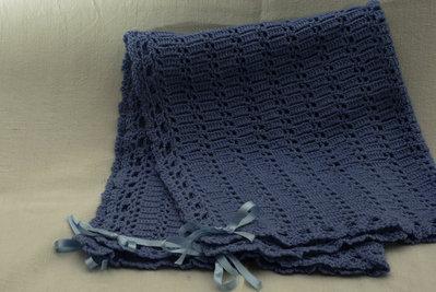 Copertina  azzurra in lana per carrozzino