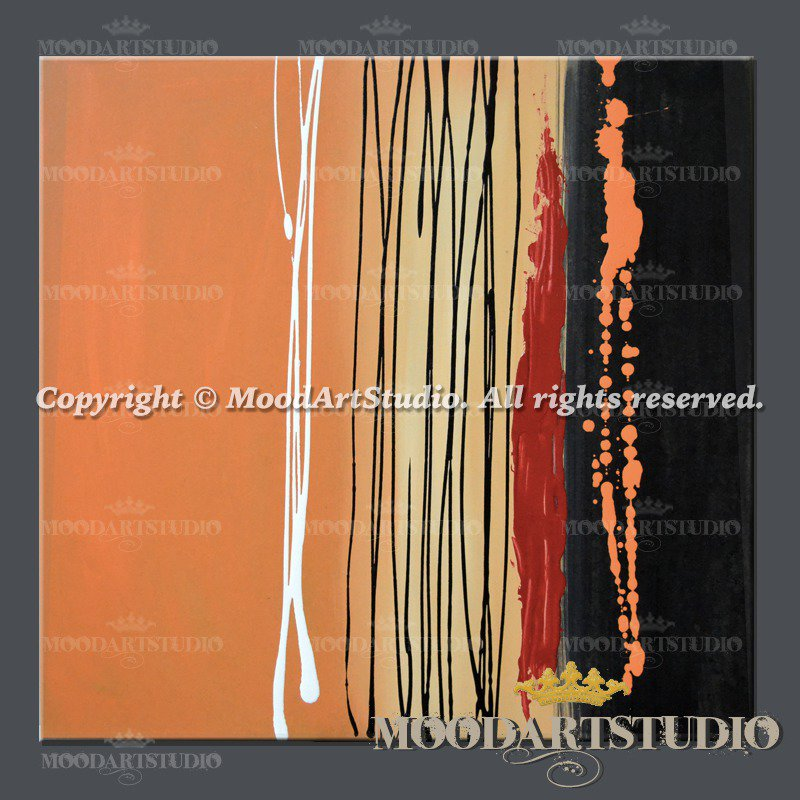 Quadro astratto minimalista color arancione