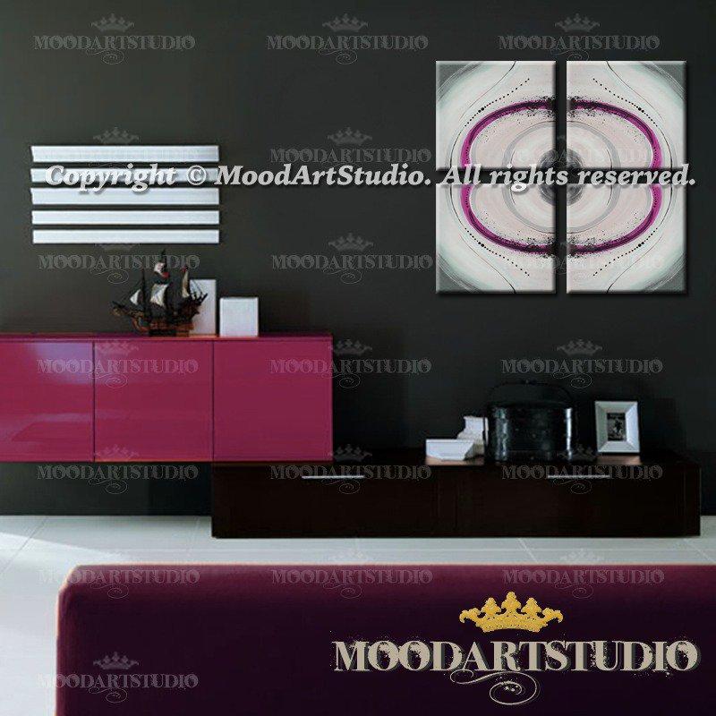 Quadro minimalista con forme geometriche viola e grigio