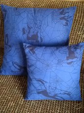 Coppia di cuscini quadrati blu spiderman