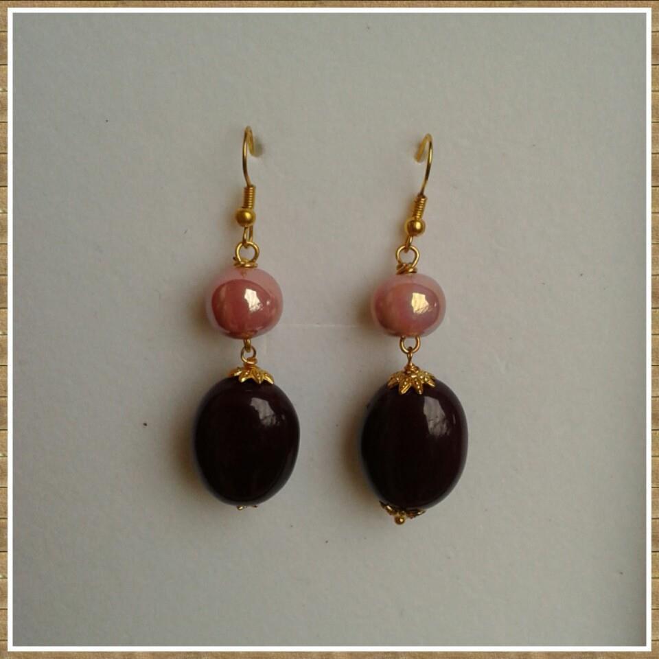 Orecchini perle in ceramica rosa antico e color melange