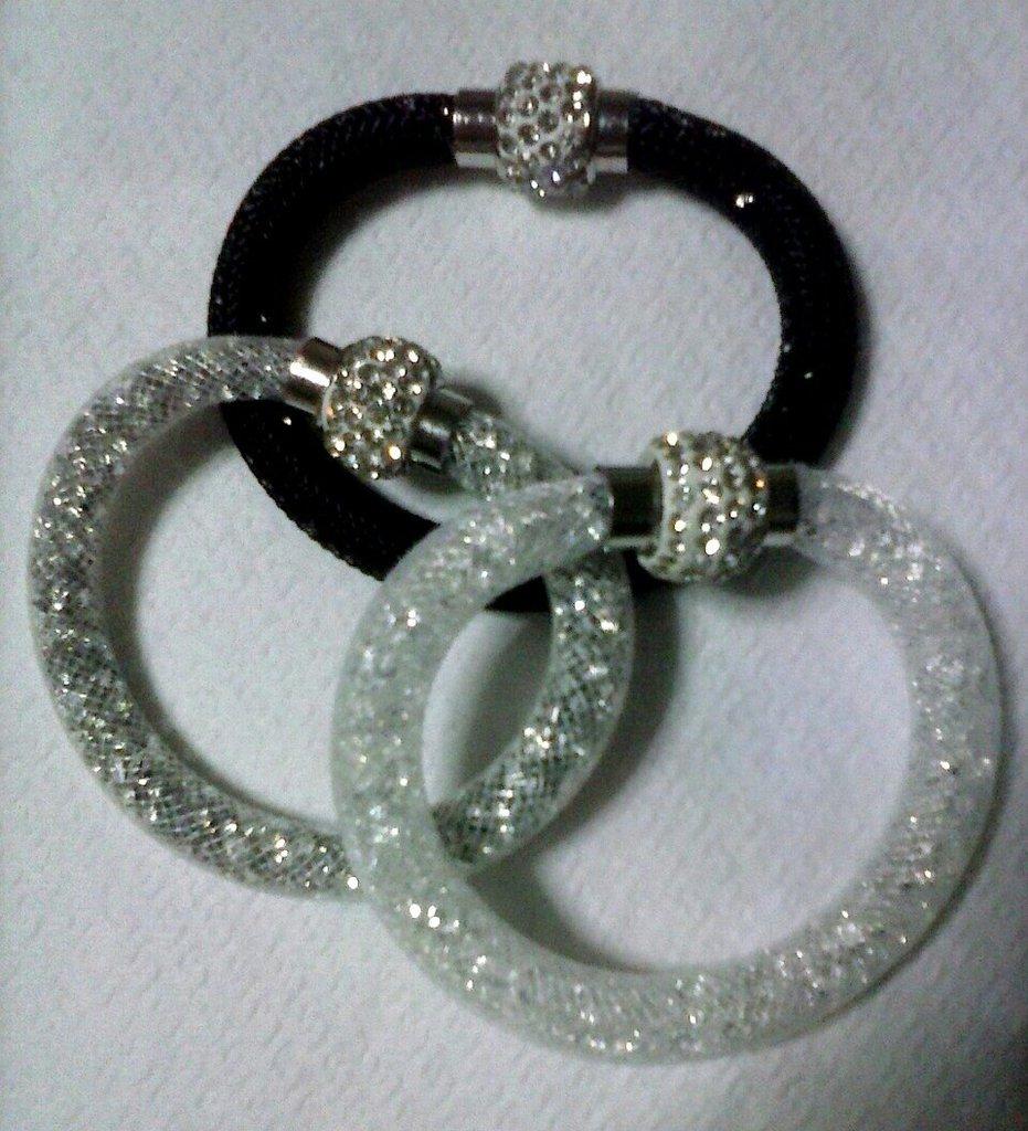 set tre bracciali stardust con cristalli