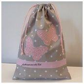 INSERZIONE RISERVATA PER MADDALENA Sacchetto asilo in cotone tinta naturale a pois con farfalle rosa applicate