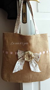 Shopping bag in juta in stile Country chic