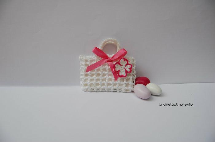 Bomboniera portaconfetti piccola borsetta con fiore - per nascita, battesimo, comunione