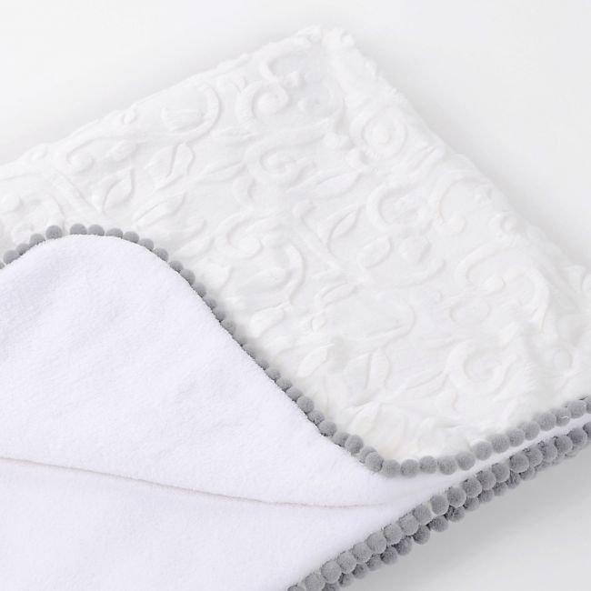 Copertina Pure Grey con Pompon lussuoso regalo per nascita o battesimo