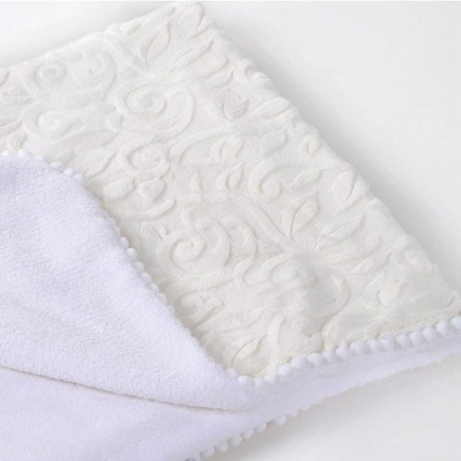 Copertina Pure White con Pompon lussuoso regalo per nascita o battesimo