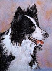 Ritratto su commissione da foto cane gatto pastelli su cartoncino