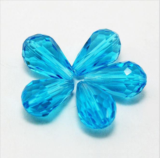 10 pz Cristallo Cinese Briolette Sfaccettata Aquamarine 15x10mm