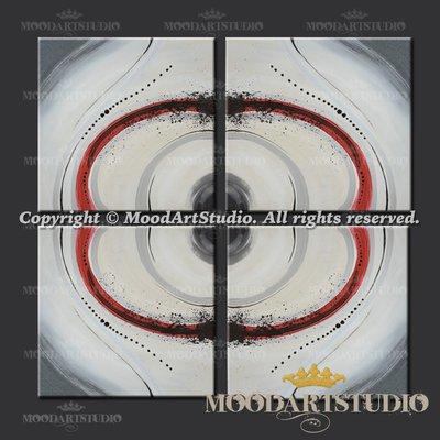 Quadro minimalista con forme geometriche rosso e grigio
