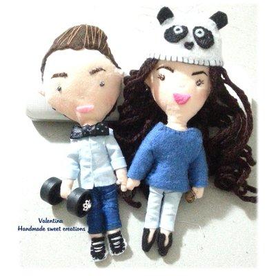Coppia bambolina stoffa caricatura personalizzata