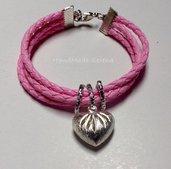 Bracciale cordoncino rosa e charm