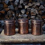 recipienti rame zucchero caffè sale stagnati  lavorati a mano