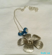 Collana Ninfea Fiore con Perle Blu