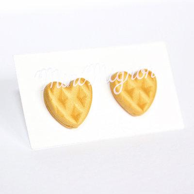 """Orecchini lobo con Pancakes a cuore """"Made with Love"""""""