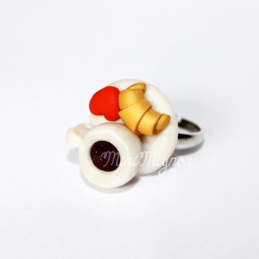 Anello regolabile con Tazzina Caffè e Croissant
