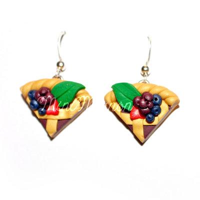 Orecchini pendenti con Crostatine alla marmellata ai Frutti di Bosco