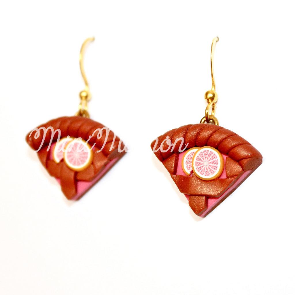 Orecchini pendenti con Crostatine alla marmellata al Pompelmo rosa