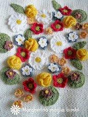 Copertina primavera in puro cotone fatta a mano ai ferri e uncinetto