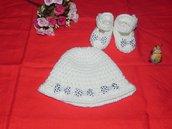Scarpette e cappellino bebè pura lana o cotone con fiocchetti