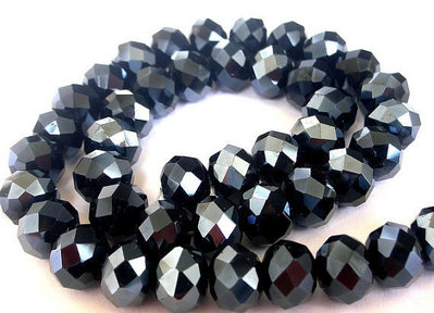 12 pz cristallo cinese cipollotti grigioero  metallico da 12 mm