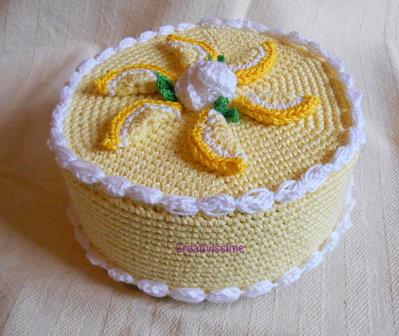 Torta al limone -uncinetto - scatola - fatta a mano